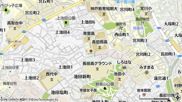 〒653-0821 兵庫県神戸市長田区池田谷町の地図