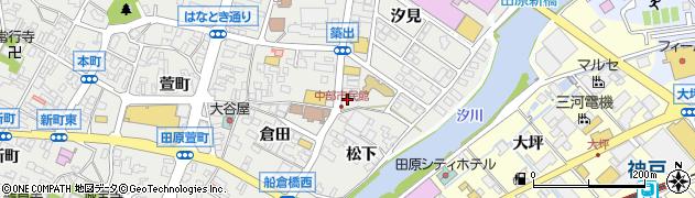 愛知県田原市田原町(当田)周辺の地図