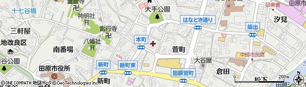 愛知県田原市田原町(本町)周辺の地図
