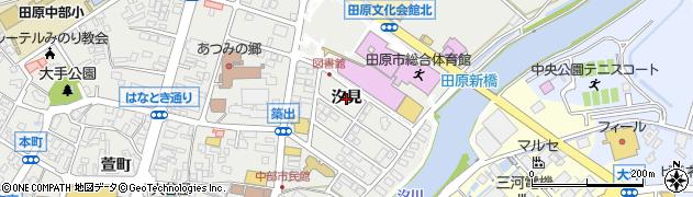 愛知県田原市田原町(汐見)周辺の地図