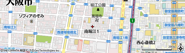 大阪府大阪市西区南堀江周辺の地図