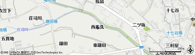 愛知県田原市田原町(西馬洗)周辺の地図