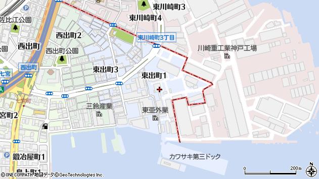〒652-0823 兵庫県神戸市兵庫区東出町の地図