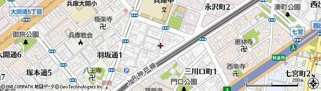 兵庫県神戸市兵庫区三川口町周辺の地図
