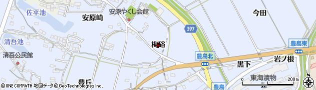 愛知県田原市豊島町(梅硲)周辺の地図