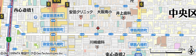大阪府大阪市中央区東心斎橋周辺の地図