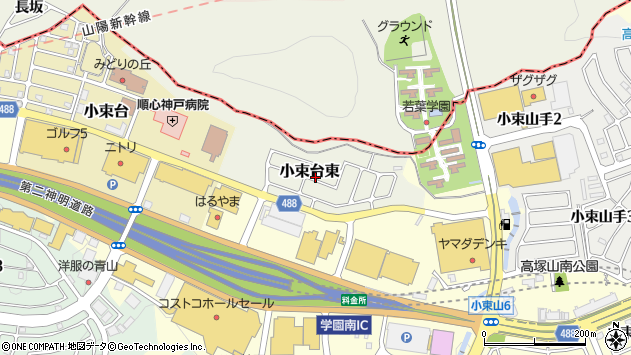 〒655-0061 兵庫県神戸市垂水区小束台東の地図