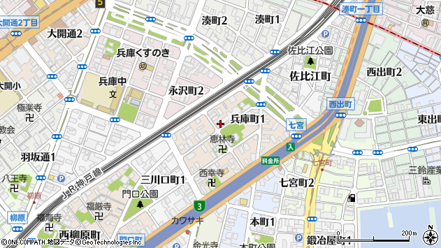 〒652-0813 兵庫県神戸市兵庫区兵庫町の地図