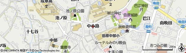 愛知県田原市田原町(中小路)周辺の地図