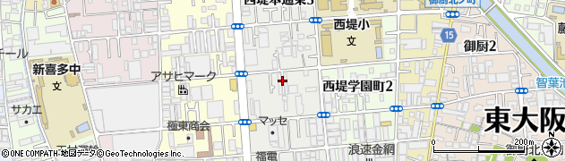 大阪府東大阪市西堤本通東周辺の地図