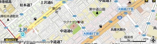 兵庫県神戸市兵庫区中道通周辺の地図
