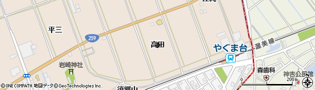 愛知県田原市谷熊町(高田)周辺の地図