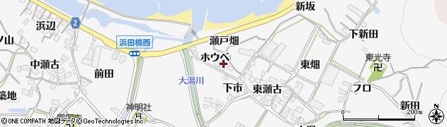 愛知県田原市仁崎町(ホウベ)周辺の地図