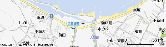 愛知県田原市仁崎町(北畷)周辺の地図