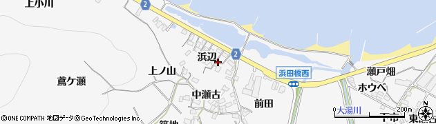 愛知県田原市仁崎町(浜辺)周辺の地図