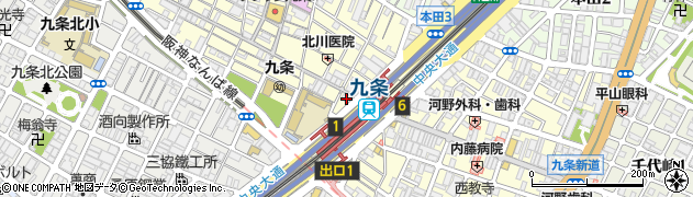 福寿司 九条西店周辺の地図