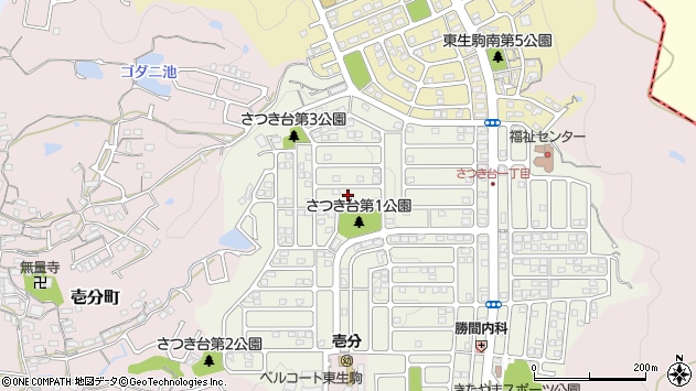 〒630-0221 奈良県生駒市さつき台の地図