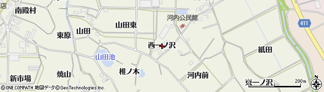 愛知県豊橋市杉山町(西一ノ沢)周辺の地図
