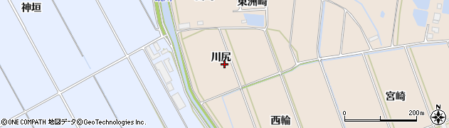 愛知県田原市谷熊町(川尻)周辺の地図
