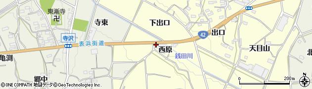 愛知県豊橋市小松原町(西原)周辺の地図
