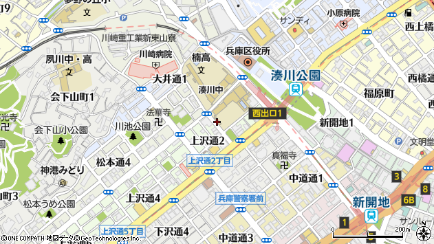 〒652-0046 兵庫県神戸市兵庫区上沢通の地図