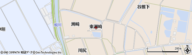 愛知県田原市谷熊町(東洲崎)周辺の地図