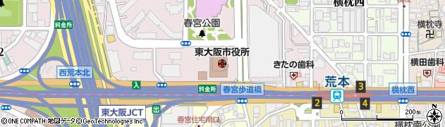 大阪府東大阪市周辺の地図