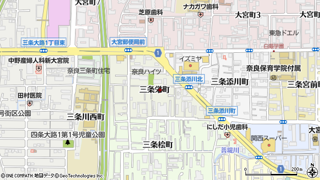 〒630-8126 奈良県奈良市三条栄町の地図