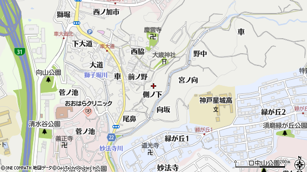 〒654-0111 兵庫県神戸市須磨区車の地図