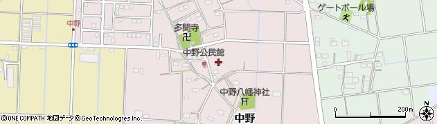 静岡県磐田市中野周辺の地図