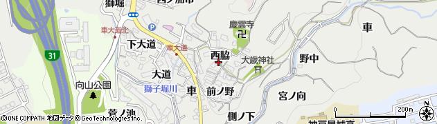 兵庫県神戸市須磨区車(西脇)周辺の地図