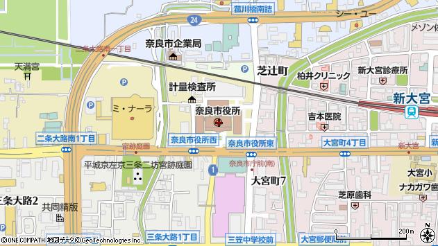 〒630-0000 奈良県奈良市(以下に掲載がない場合)の地図