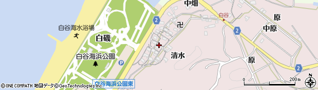 愛知県田原市白谷町(清水)周辺の地図