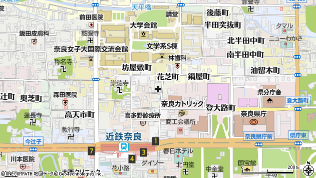 〒630-8266 奈良県奈良市花芝町の地図