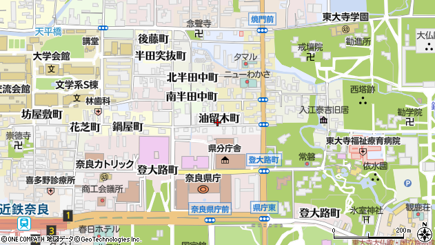 〒630-8283 奈良県奈良市油留木町の地図