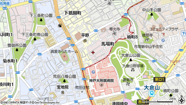 〒652-0016 兵庫県神戸市兵庫区馬場町の地図