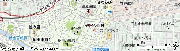 大阪府東大阪市稲田本町周辺の地図