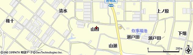 愛知県田原市吉胡町(山田)周辺の地図