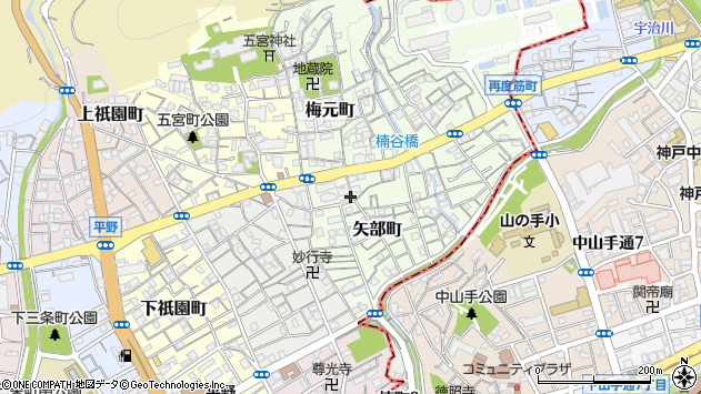 〒652-0005 兵庫県神戸市兵庫区矢部町の地図