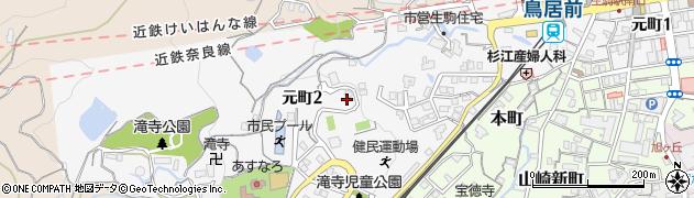 奈良県生駒市元町周辺の地図