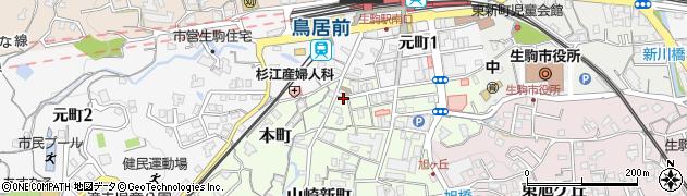 奈良県生駒市本町周辺の地図