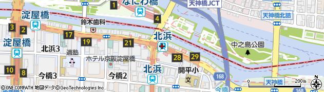 大阪府大阪市中央区周辺の地図