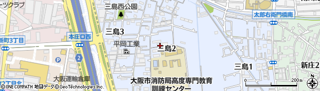 大阪府東大阪市三島周辺の地図