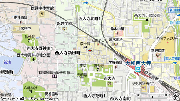 〒631-0827 奈良県奈良市西大寺小坊町の地図