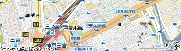 兵庫県神戸市中央区周辺の地図