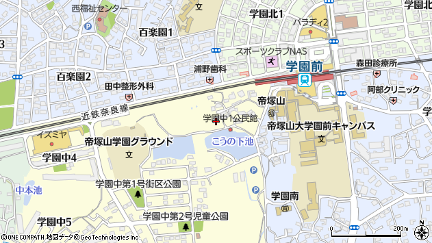 〒631-0035 奈良県奈良市学園中の地図