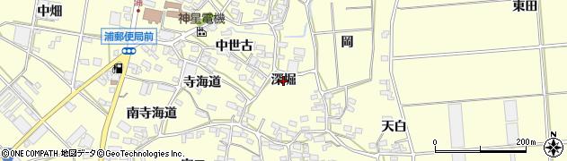 愛知県田原市浦町(深堀)周辺の地図