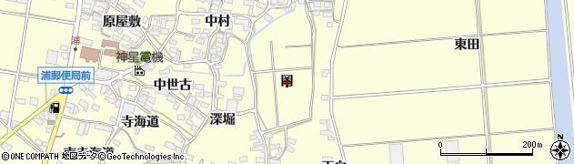 愛知県田原市浦町(岡)周辺の地図