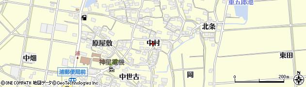 愛知県田原市浦町(中村)周辺の地図