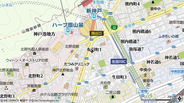 〒651-0097 兵庫県神戸市中央区布引町の地図